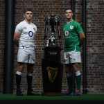 LONDON, ENGLAND - JANUARY 22: Captains Owen Farrell of England and Jonathan Sexton of Ireland pose with the Six Nations Trophy during the Guinness Six Nations Launch at Tobacco Dock on January 22, 2020 in London, England. (Photo by Mike Hewitt/Getty Images)