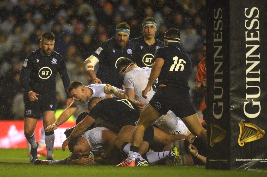 EDINBURGH, SCOTLAND - FEBRUARY 08: England player Ellis Genge goes over for the games only try during the 2020 Guinness Six Nations match between Scotland and England at Murrayfield on February 08, 2020 in Edinburgh, Scotland. (Photo by Stu Forster/Getty Images)
