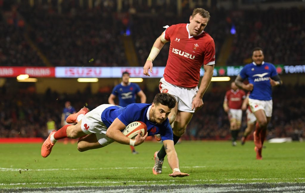 CARDIFF, WALES - FEBRUARY 22: Romain Ntamack of France goes over to score his teams third try during the 2020 Guinness Six Nations match between Wales and France at Principality Stadium on February 22, 2020 in Cardiff, Wales. (Photo by Stu Forster/Getty Images)