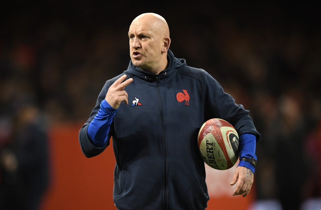 CARDIFF, WALES - FEBRUARY 22: France defence coach Shaun Edwards looks on during the warm up before the 2020 Guinness Six Nations match between Wales and France at Principality Stadium on February 22, 2020 in Cardiff, Wales. (Photo by Stu Forster/Getty Images)