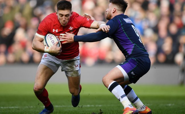 EDINBURGH, SCOTLAND - MARCH 09: Josh Adams of Wales is tackled by Ali Price of Scotland during the Guinness Six Nations match between Scotland and Wales at Murrayfield on March 09, 2019 in Edinburgh, Scotland. (Photo by Stu Forster/Getty Images)